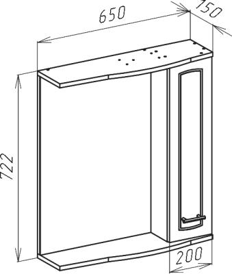 Зеркало-шкаф Классик 65 R белый
