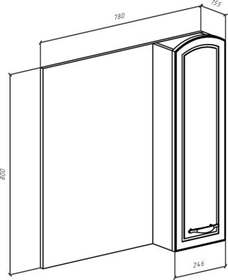 Зеркало-шкаф Амелия 80 R белое, патина серебро
