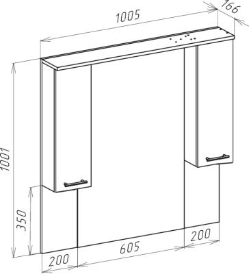 Зеркало-шкаф Bellezza Мари 105 белое