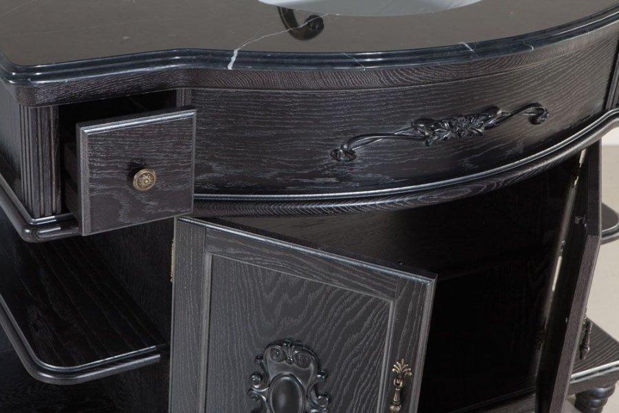 Напольная тумба под столешницу с раковиной ванную комнату Аврора 115 черная (патина) серебро