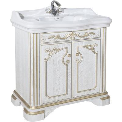 Тумба напольная под раковину из массива в ванную комнату Виктория 100 белая патина золота