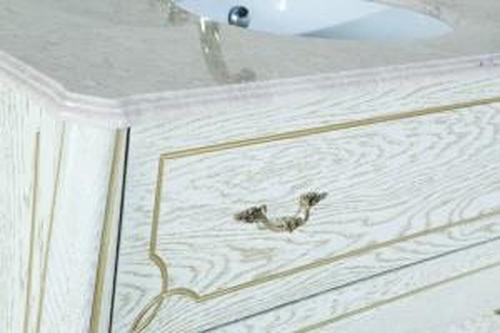 Тумба под раковину из массива в ванную комнату  Грация Люкс-110 тумба с 2 ящ. белая (патина) золото