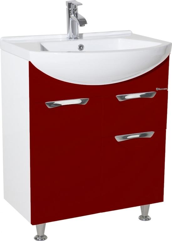 Напольная тумба под раковину Bellezza Альфа 65 красная с ящиком (без умывальника)