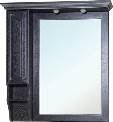 Зеркало-шкаф Bellezza Рим 110 L черное патина серебро