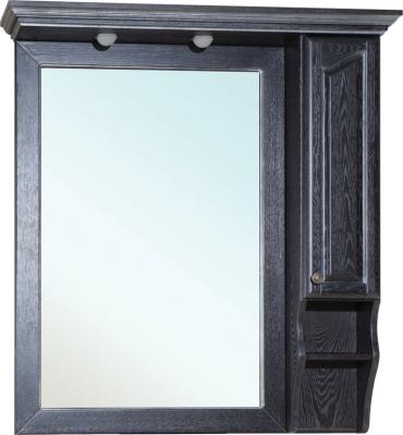 Зеркало-шкаф Bellezza Рим 110 R черное патина серебро