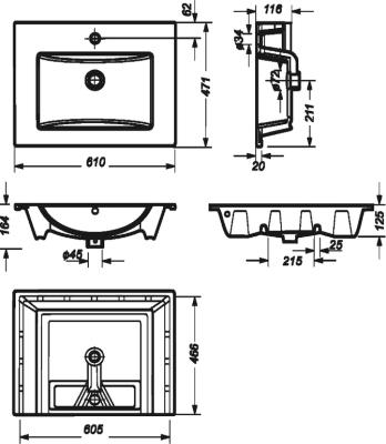 Мебельная раковина Sanita luxe Quadro 60