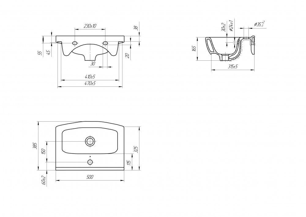Мебельная раковина Cersanit Cersania 50