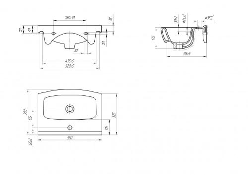 Мебельная раковина Bellezza Cersania 55 CE55B с 1 отв.