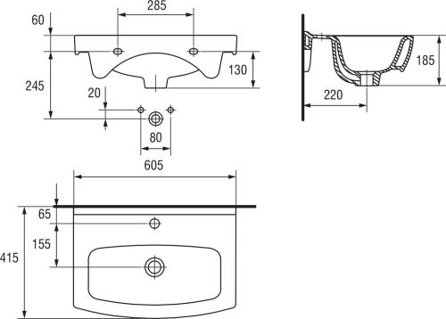 Мебельная раковина Bellezza Cersanit Cersania 60